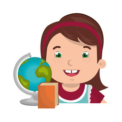 avatar girl smiling with earth globe and book icon. colorful design. vector illustration