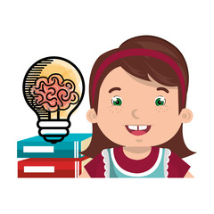 avatar girl smiling with books and bulb icon. colorful design. vector illustration