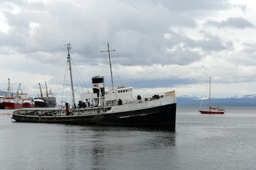 """Steam tug """"Saint Christopher"""" Grounded in the Beagle Channel."""
