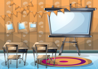 cartoon vector illustration interior classroom with separated layers in 2d graphic