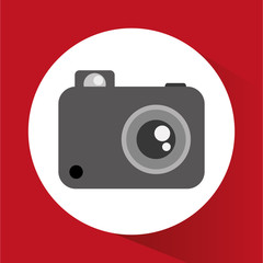 Camera gadget icon. Photography equipment and technology theme. Vector illustration