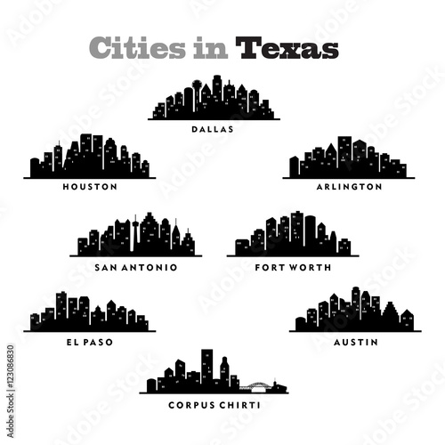 city skyline cityscape of cities in texas silhouette
