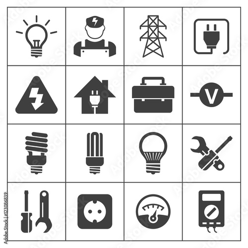 Light Bulb Electricity Electrical Tool Equipment Symbol Icon Stock
