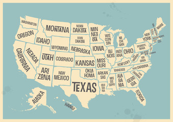 retro style poster with map of the USA with federal states, vintage typography - vector eps design element for cards, infographics, t-shirts or other print products
