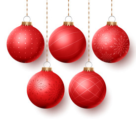 Christmas balls vector set with different designs hanging isolated in white background. Vector illustration.