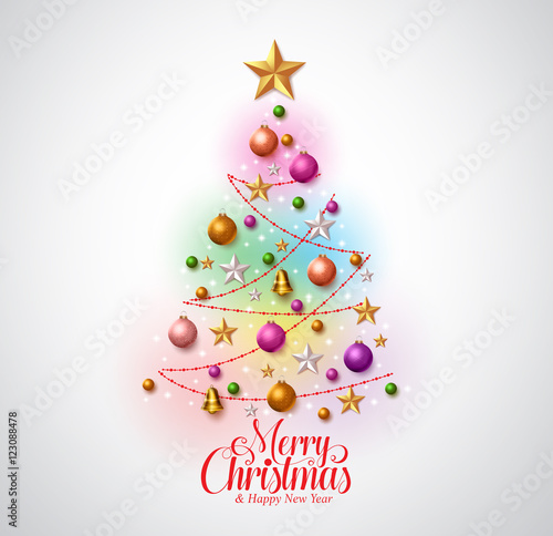 Colorful Christmas Background Design.Christmas Tree Greetings Card Design With Colorful Christmas