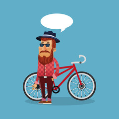 bike and hipster cyclist icons image vector illustration