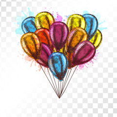Balloons on transparent background.