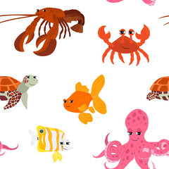 Seamless pattern with cartoon animals.