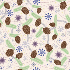 Snowflake and cones seamless pattern vintage