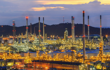 Soft focus of oil refinery plant in Thailand with sunset,Bokeh lighting