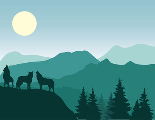 vector mountain background