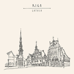 House of the Blackheads, St. Peters Church and statue of Roland in Riga old town, Latvia, Europe. Hand drawn postcard