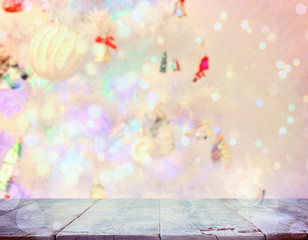 Christmas background with white fir tree blurred