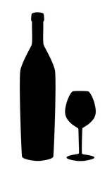 Wine bottle and glass silhouette isolated on white background.  icon or sign.