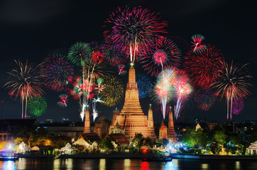 Temple of Dawn with fireworks.