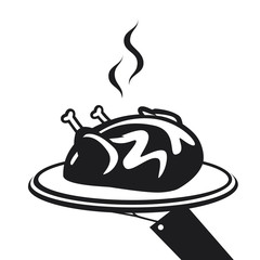Hand holding plate with whole roasted chicken. Vector illustration