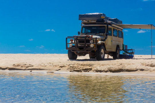 4wd vehicle camping setup on Eli Creek, Fraser Island, Australia