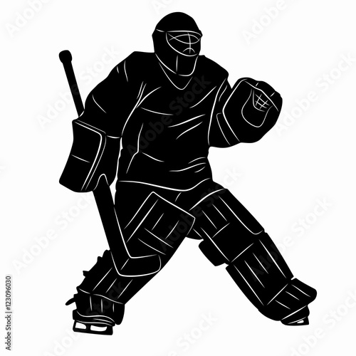 Silhouette Of A Hockey Goalie Vector Drawing Stock Image And