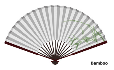 Ancient Chinese fan with bamboo