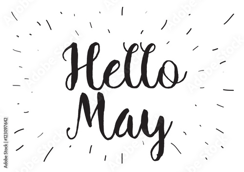 Quot hello may inscription greeting card with calligraphy