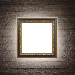 Frame art on modern brick wall.