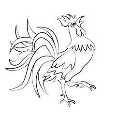 Image rooster silhouette on a white background. Tattoo. illustration