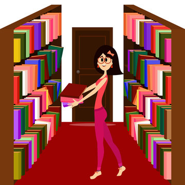 Pretty girl holding books in a library.