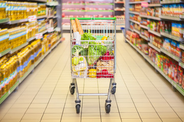 Trolley full of products in supermarket