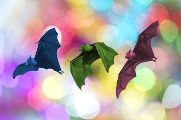 Bats flying on Christmas background