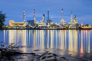 Oil refinery along the river.