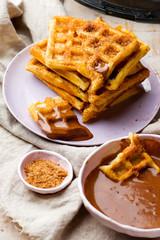 waffle with chocolate sauce