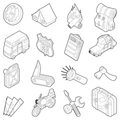 Travel icons set. Isometric outline illustration of 16 travel vector icons for web