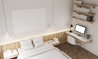 Top view of white walls bedroom