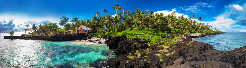 In de dag Koraalriffen Coral reef and palm trees on south side of Upolu, Samoa Islands