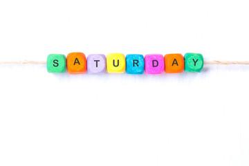 saturday word of multicolored cubes