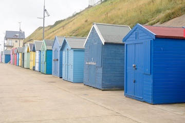 The famous painted beach huts in Sheringham, Norfolk, England