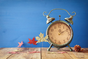 Image of autumn Time Change. Fall back concept