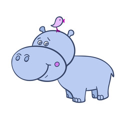 Hippo with a bird-01