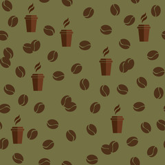 Tea or coffee cups seamless vector pattern with coffee beans or corns.