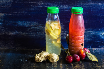 Detox drinks on wooden table