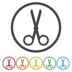 Cut, scissors, clipboard or fashion icon