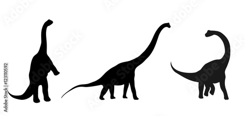 a set of three silhouettes of dinosaurs, vector illustration, isolated objects