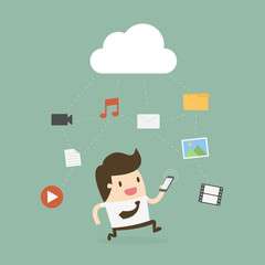 Businessman Using Mobile Phone With Cloud And Media Icon.