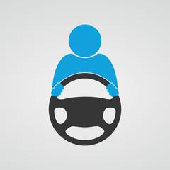 Steering wheel icon. Vector.