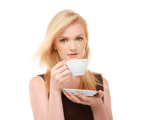 Beautiful girl with cup of coffee, isolated on white