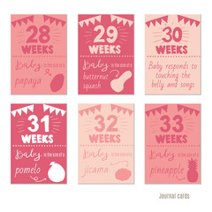 pregnancy 28-33 weeks Vector design templates for journal cards, scrapbooking cards, greeting cards, gift cards, patterns, blogging. Planner cards. Cute doodle. Printable templates set.
