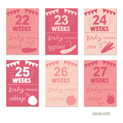 pregnancy 22-27 weeks Vector design templates for journal cards, scrapbooking cards, greeting cards, gift cards, patterns, blogging. Planner cards. Cute doodle. Printable templates set.