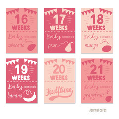 pregnancy 16-21 weeks Vector design templates for journal cards, scrapbooking cards, greeting cards, gift cards, patterns, blogging. Planner cards. Cute doodle. Printable templates set.