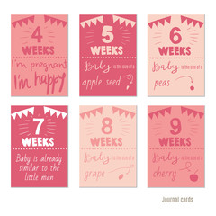 pregnancy 4-9 weeks Vector design templates for journal cards, scrapbooking cards, greeting cards, gift cards, patterns, blogging. Planner cards. Cute doodle. Printable templates set.